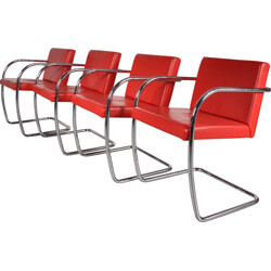 Set of 4 Knoll chairs in red leather, Mies VAN DER ROHE - 1970s