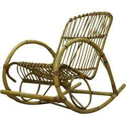 Vintage rocking chair in rattan - 1960s