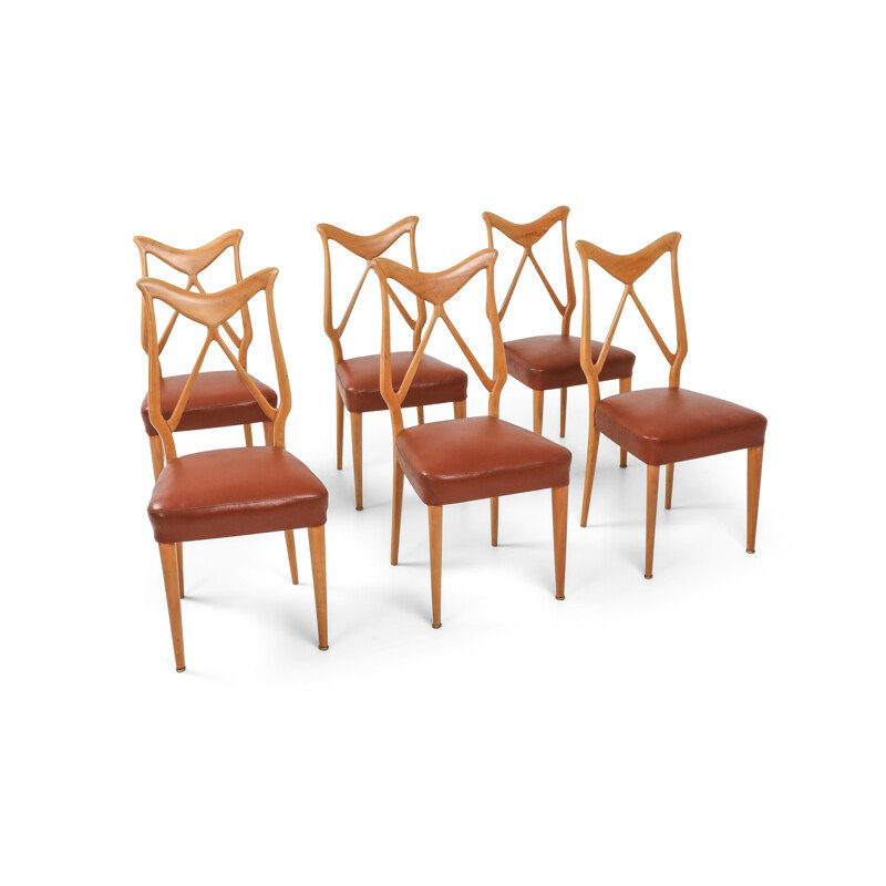 6 Oak and leather vintage italian dining chairs, 1970s