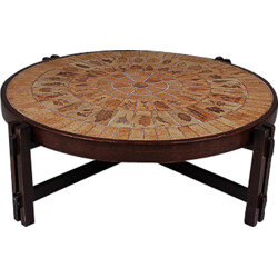 French coffee table in wood and ceramic, Roger CAPRON - 1960s