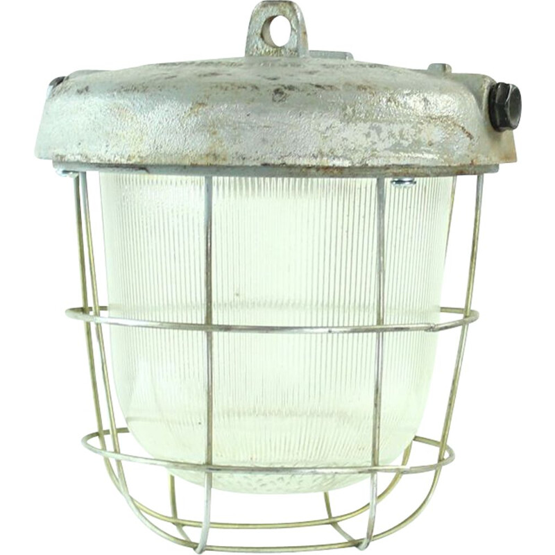 Vintage industrial ceiling light in metal and glass, Czechoslovakia 1950s