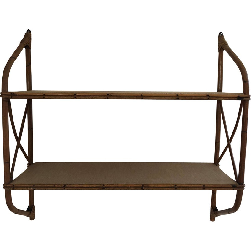 Vintage rattan and bamboo wall shelf 1960s