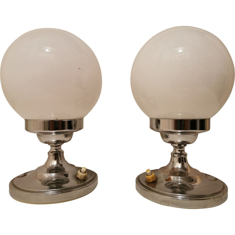 Pair of vintage chrome and opaline bedside lamps, 1960s