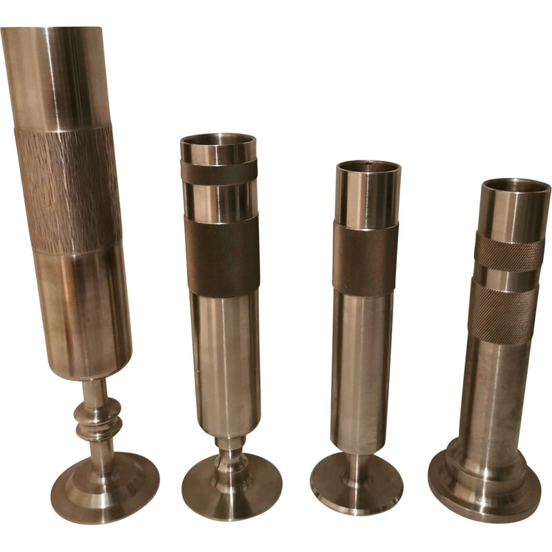 Set of 4 Vintage stainless steel vase 1970