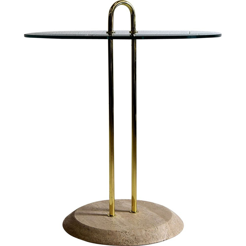 Vintage Vico Magistretti Travertine and Brass Hollywood Regency Side Table for Cattelan
