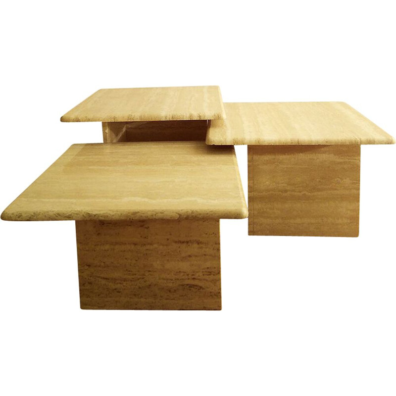 Set of 3 vintage nesting coffee tables in travertine, 1970