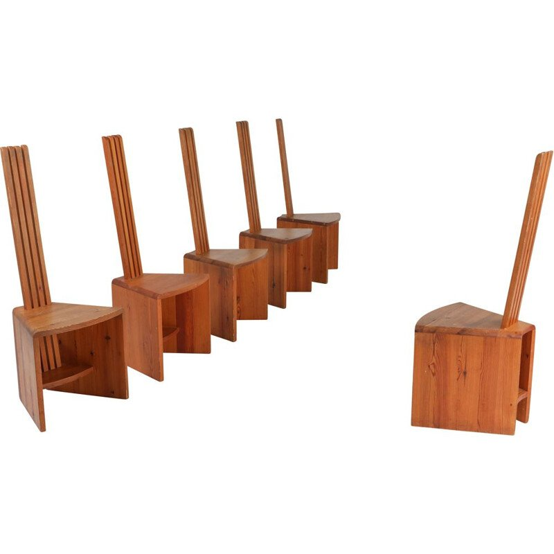 Set of 6 unusual vintage chairs in pine, 1960s