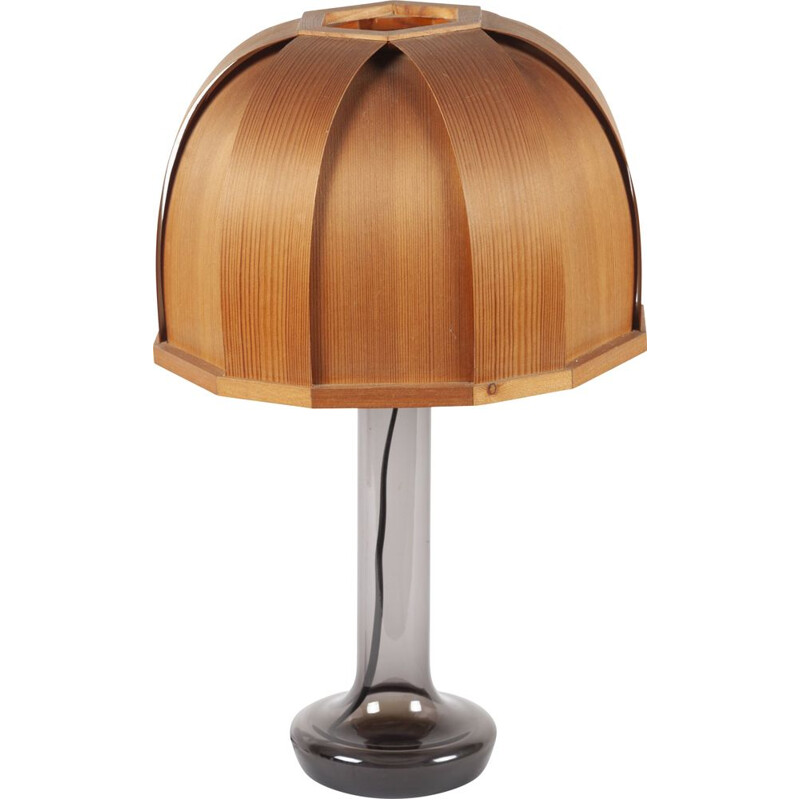 Swedish glass and laminated wood vintage table lamp from Pileprodukter Landskrona, 1960s