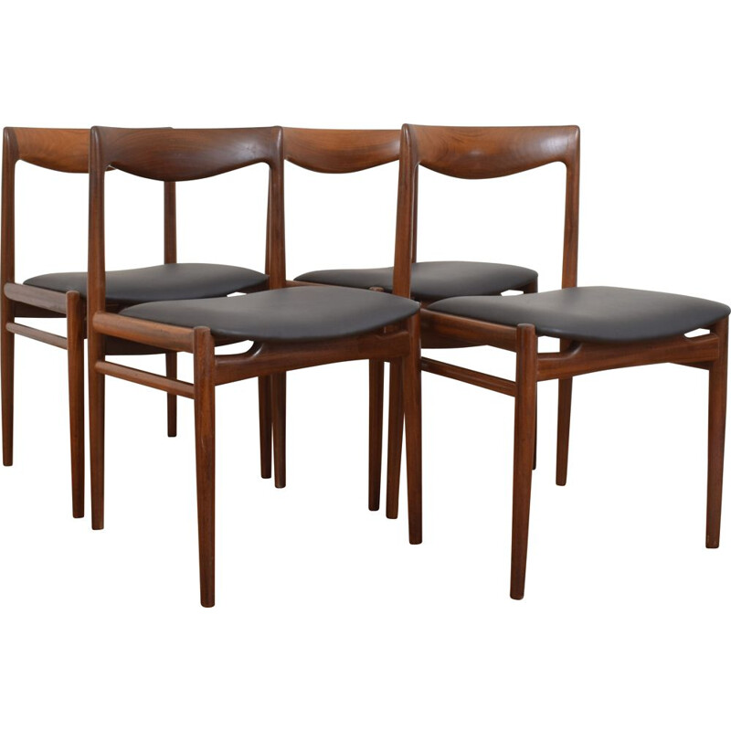 Set of 4 teak vintage dining chairs from Lübke, 1960s