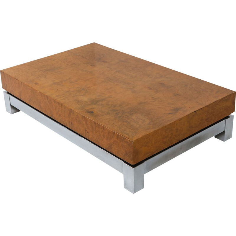 Burl and chrome vintage coffee table in style of Claude Mahey, 1970s
