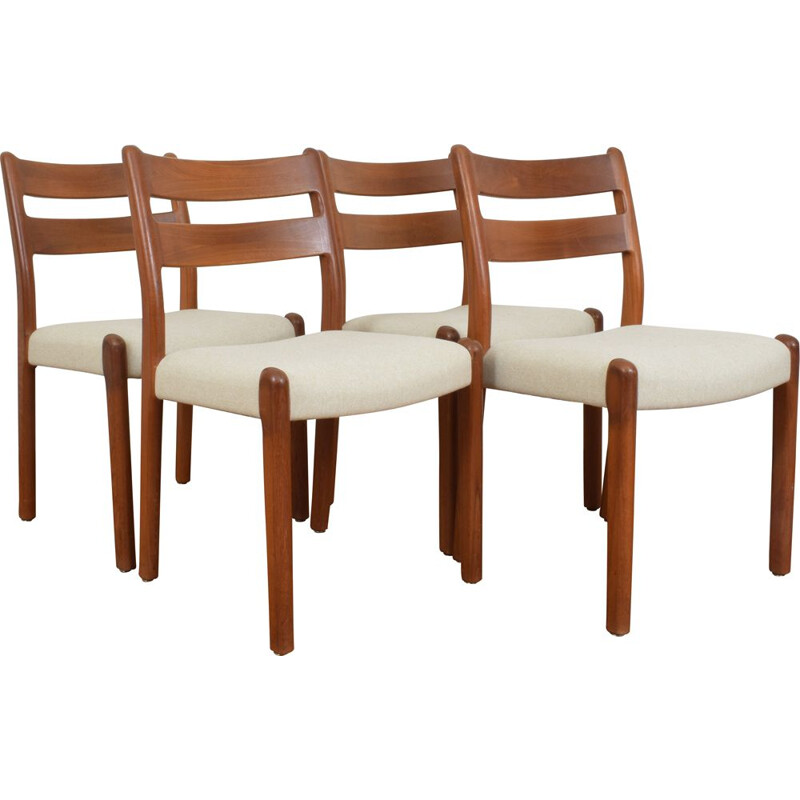 Set of 4 danish teak dining chairs from EMC Møbler, 1970s