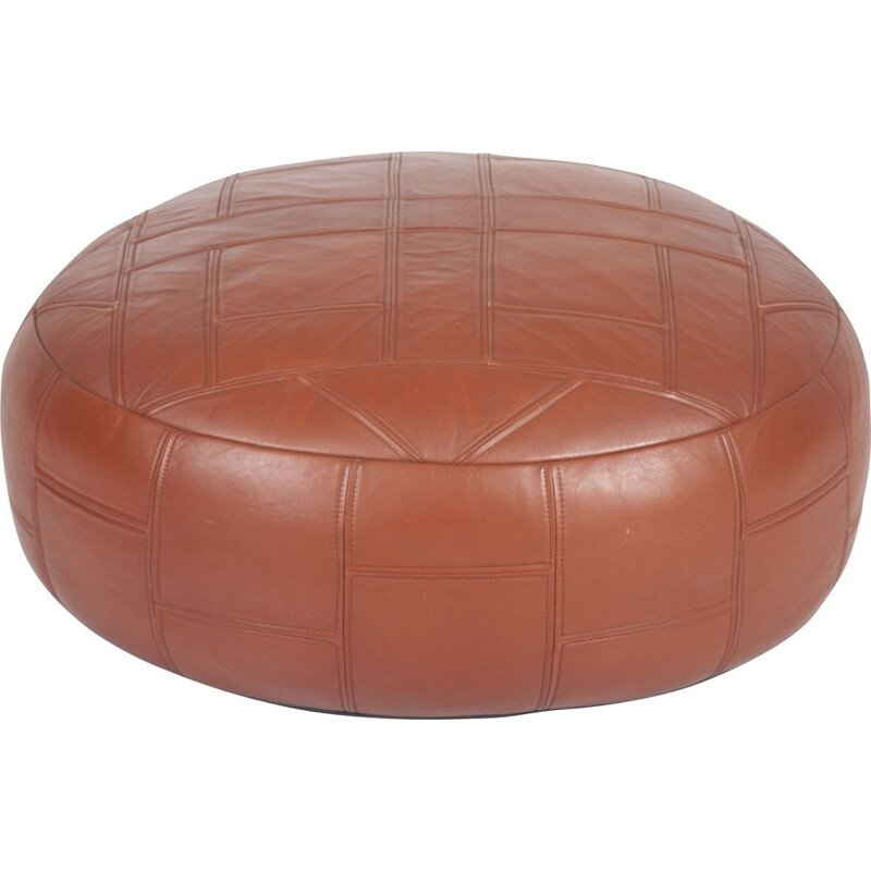 Vintage cognac leather vintage pouf, 1970s