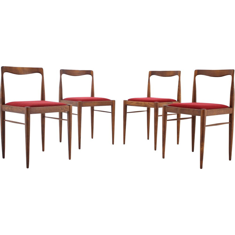 Set of 4 vintage dining chairs by Drevotvar , Czechoslovakia, 1970s