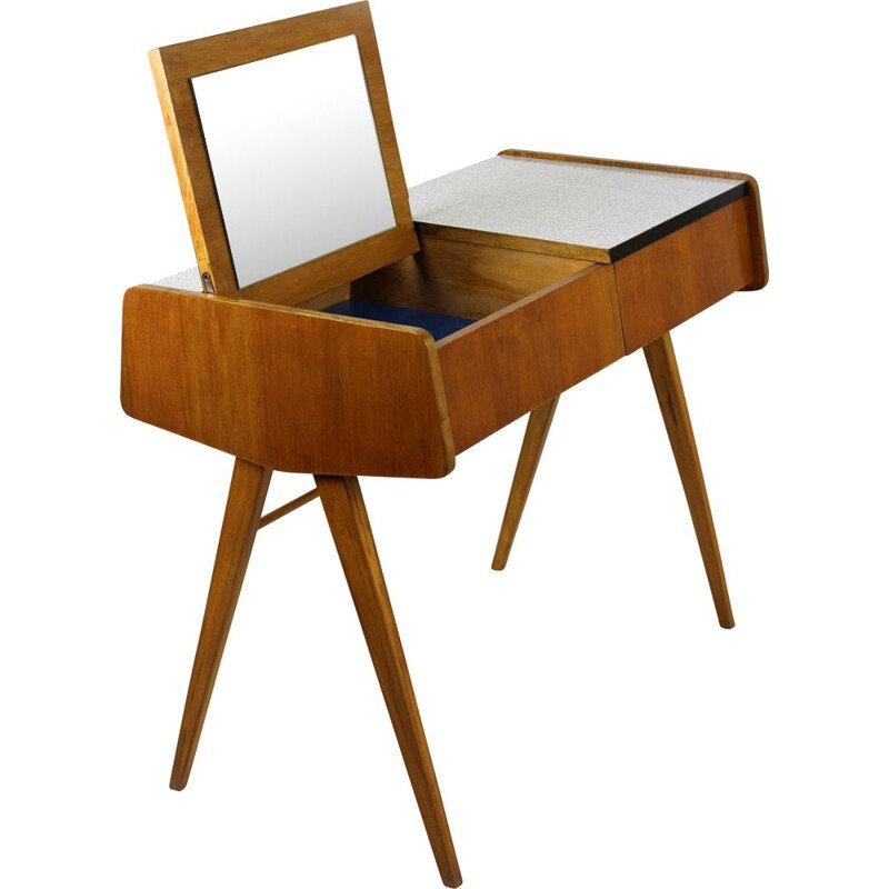 Vintage Grey Formica Dressing Table with Mirror by František Jirák, 1960s