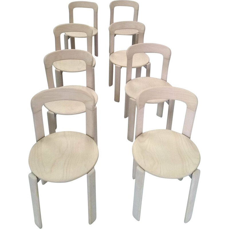 Set of 8 chairs by Bruno Rey for Dietiker Mobilier International 1970