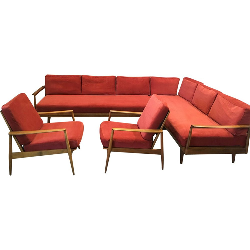 Red modular lounge set of 2 sofas and 2 armchairs, 1950