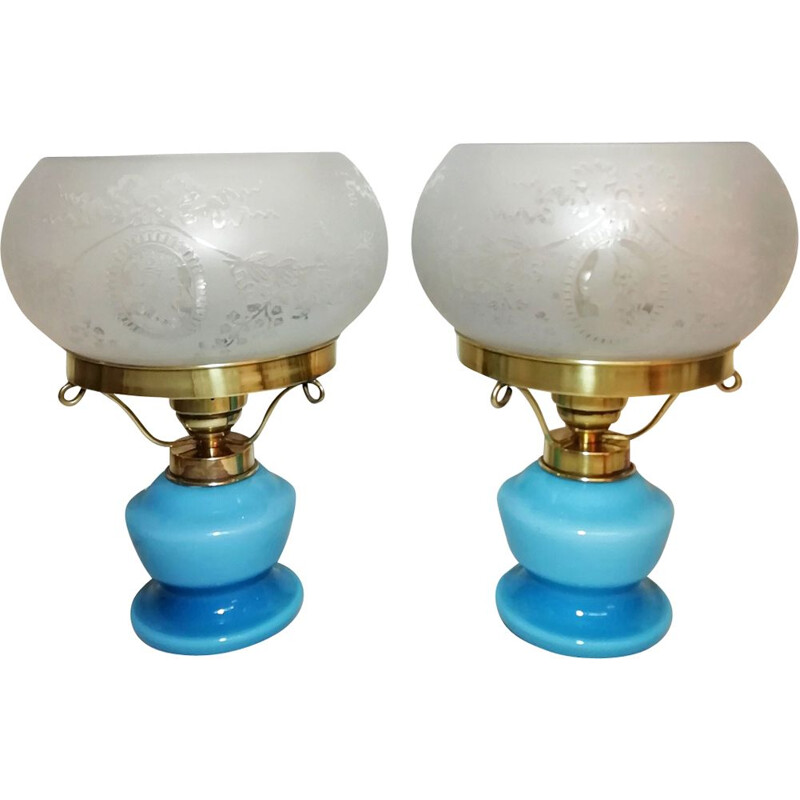 Pair of vintage table lamps  in opaline glass and brass