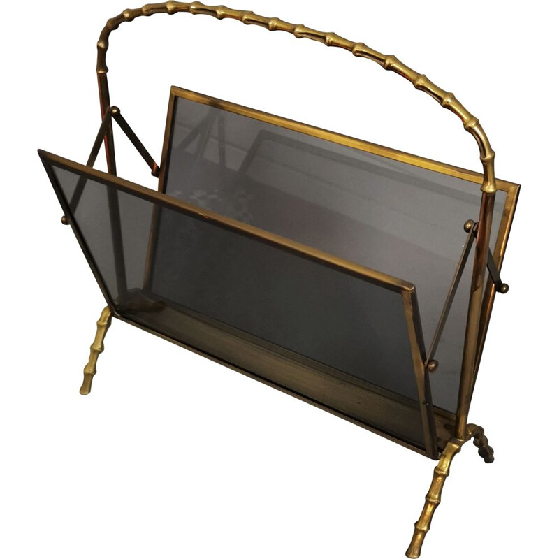 Vintage magazine rack in brass and smoked glass