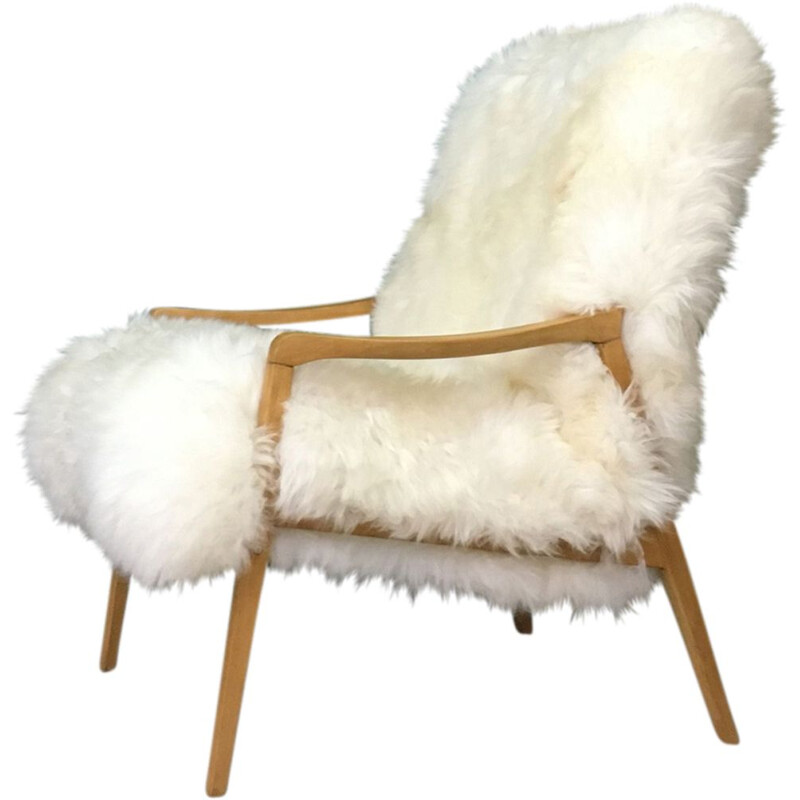 "Vintage Art Deco ""Fury Chair"" armchair in white sheepskin"