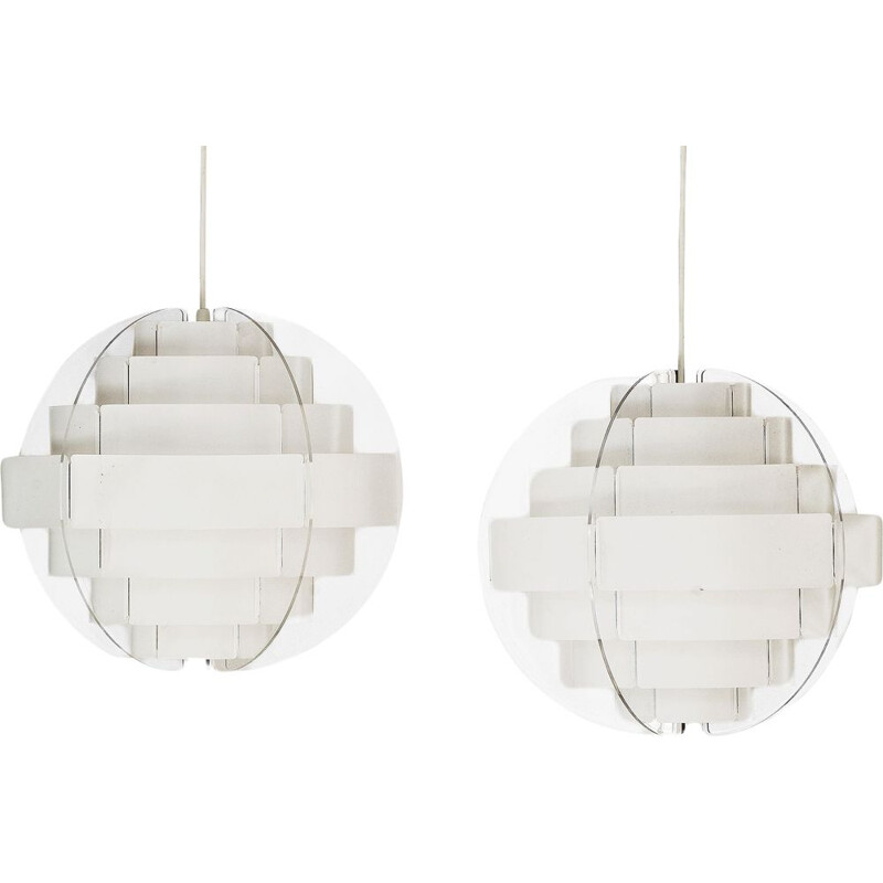 "Pair of pendant lights ""Strips"" by Brylle & Jacobsen for Quality System, Denmark 1980s"