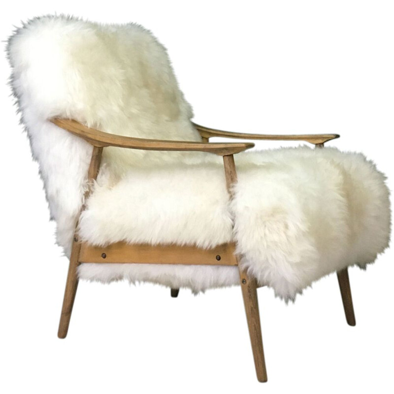 "Vintage Art Deco ""Fury Chair"" armchair in white plush sheepskin"