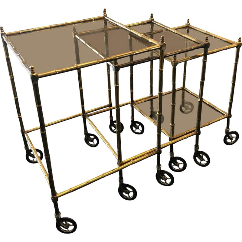 Vintage Set of Brass and Smoked Glass Nesting Tables, 1960