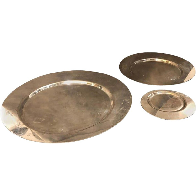 Vintage Set of Three Silver Plated Plates by Gio Ponti for Cleto Munari, 1970