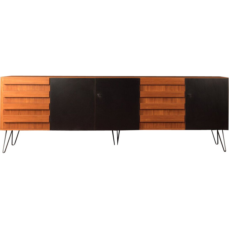 Vintage sideboard in wood an black formica, Germany 1960