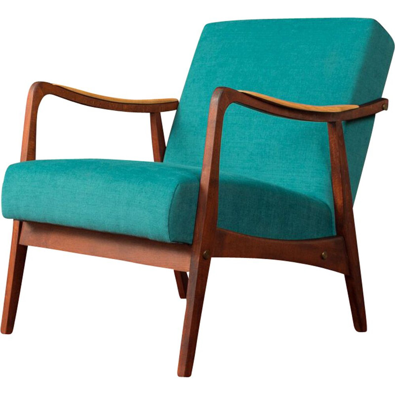 Vintage blue Armchair in ash wood, 1950s