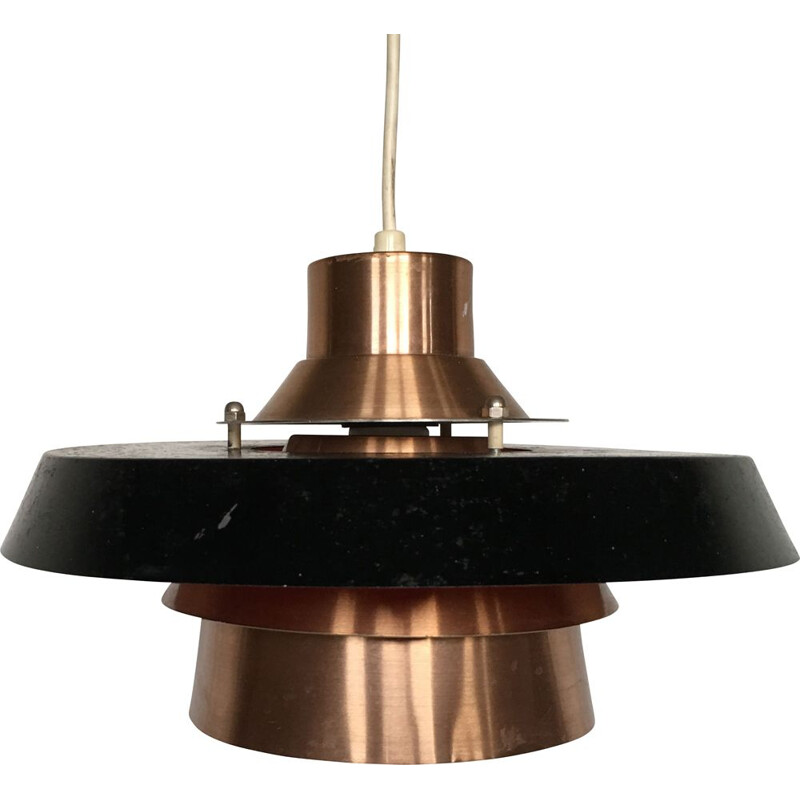 Vintage Scandinavian black lacquered metal pendant light, Denmark, 1970