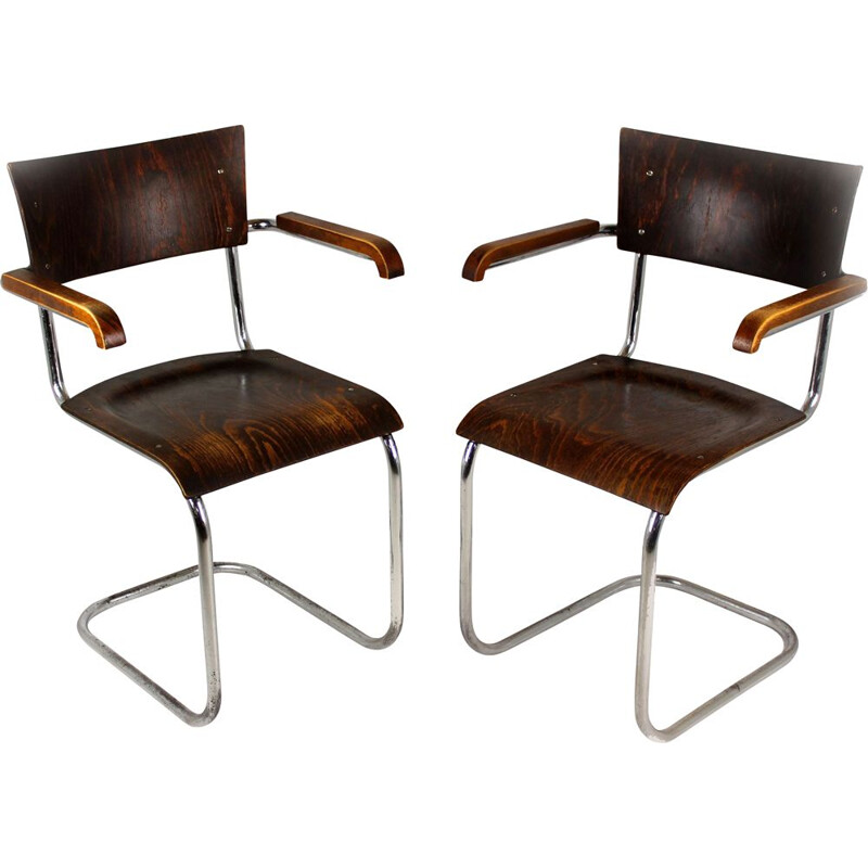 Pair of vintage Bauhaus Tubular Steel Cantilever Armchairs By Mart Stam, 1930s