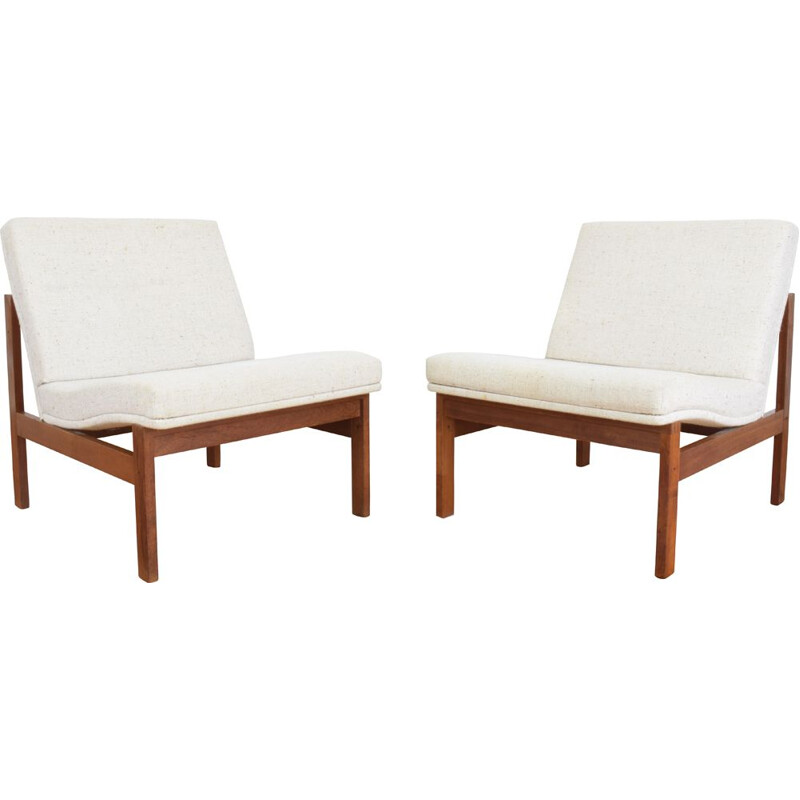 Pair of Danish Teak armchair by Ole Gjerlov-Knudsen & Torben Lind for France & Søn, 1960s