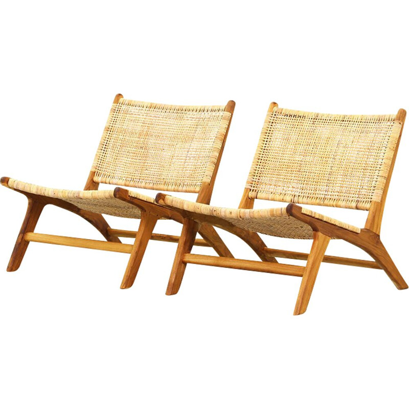Vintage pair of Danish Teak Lounge Chairs 1960