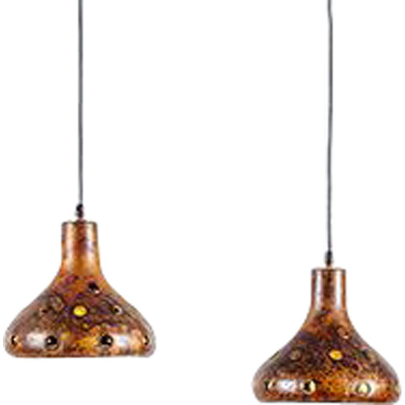 Vintage pair of Brutalist Pendant Lamps by Nanny Still