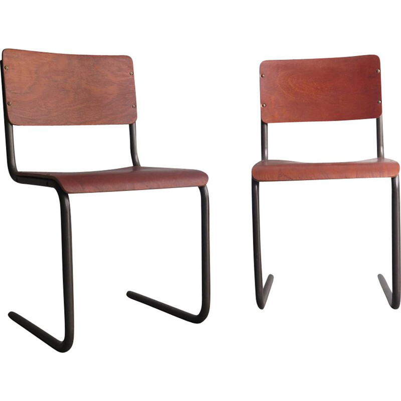 Pair of vintage chair in plywood and metal, Germany, 1950s