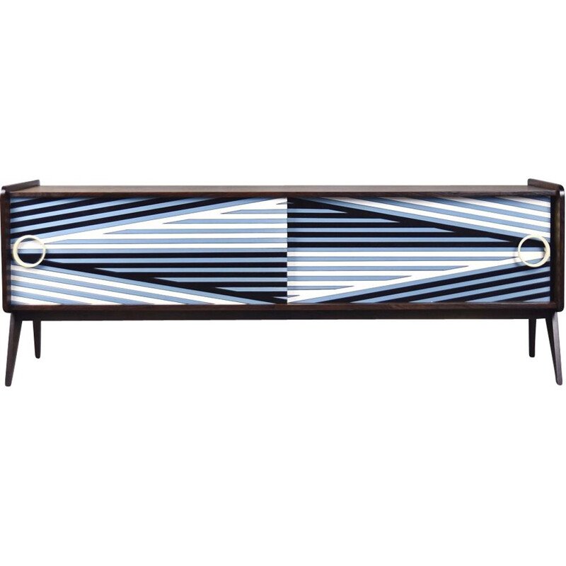 Norwegian vintage sideboard with hand-painted pattern in blue, 1960s