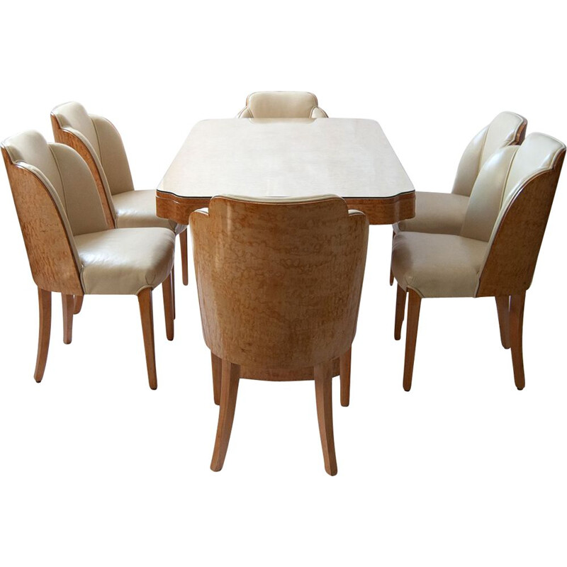 Art Deco vintage dining set by Harry and Lou Epstein, 1930s