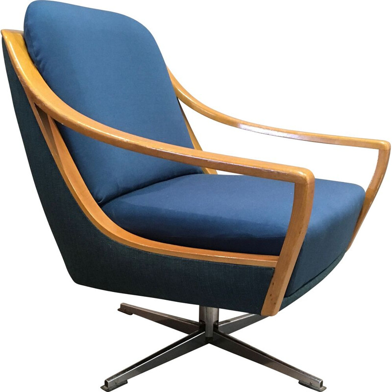 Scandinavian vintage swivel armchair, 1950s