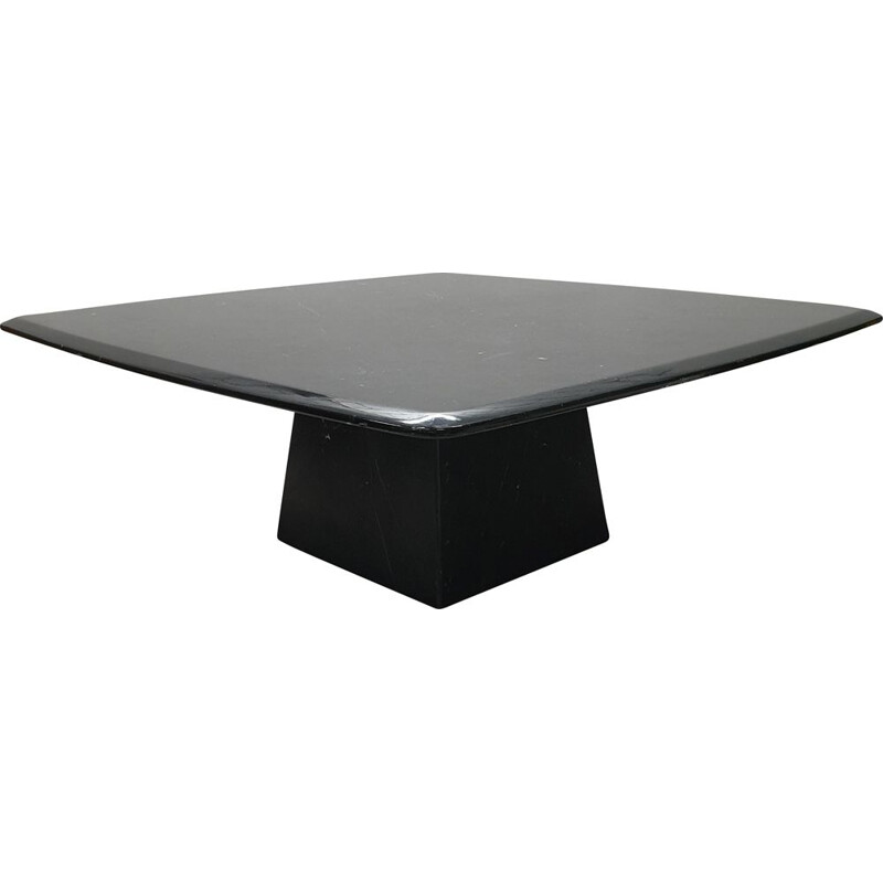 Vintage black marble coffee table with a pyramidal base, 1980s