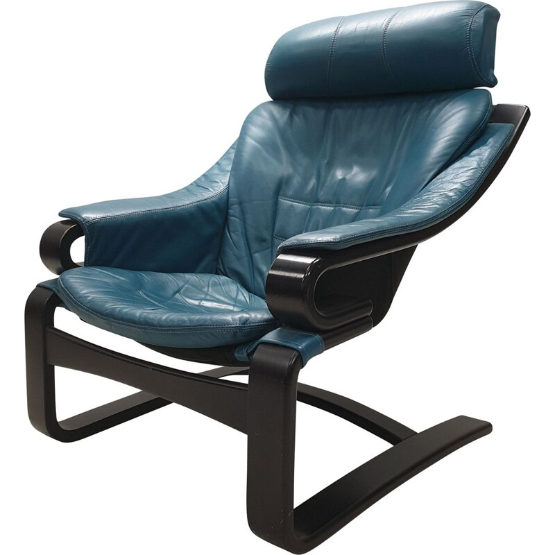 "Vintage ""Apollo"" armchair in petrol blue leather by Svend Skipper for Skippers Mobler, 1970"