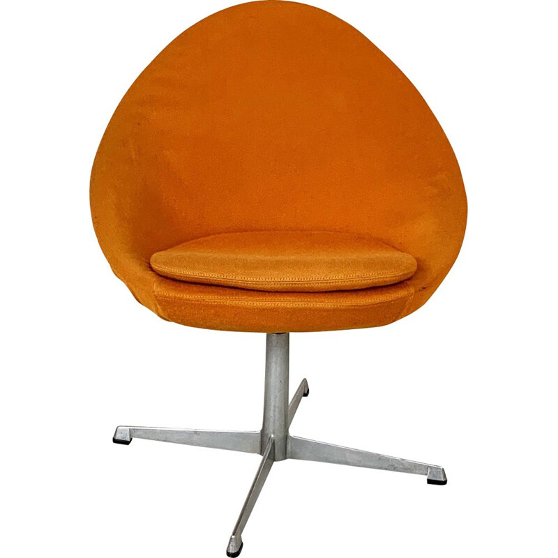 Orange little egg swivel vintage armchair by Pastoe, 1960s