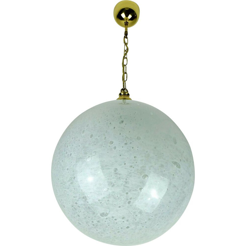 White glass and brass vintage pendant light par Doria-Leuchten, 1970s