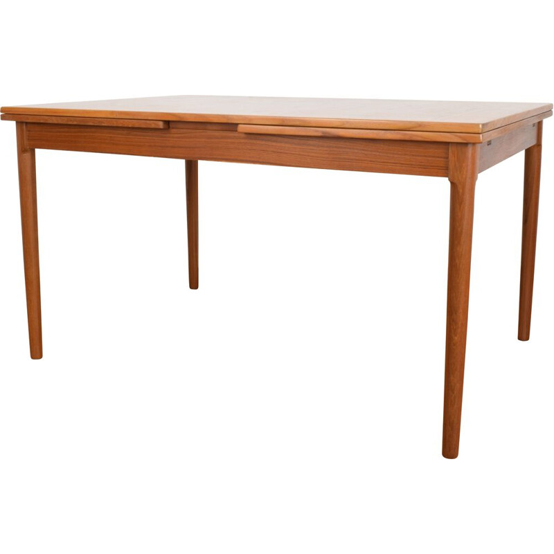 Danish teak vintage extendable dining table by Kaj Winding for Slagelse, 1970s