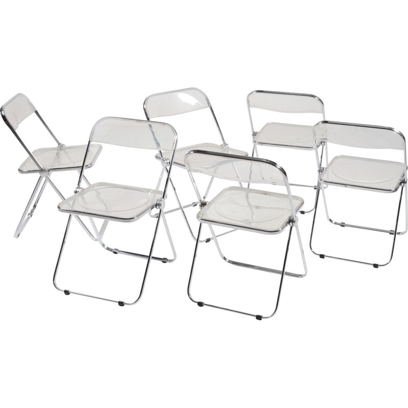 Set of 6 Plia Folding Chairs by Giancarlo Piretti for Castelli  Anonima Castelli, 1960s