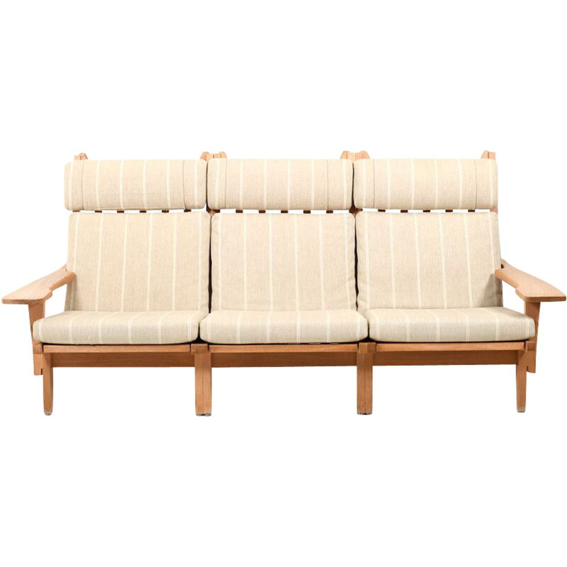 Vintage 3-Seater Sofa GE-375 in Oak by Hans J. Wegne