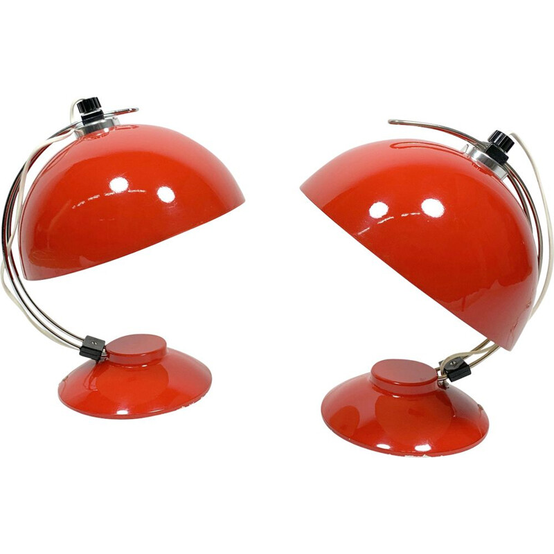Pair of vintage Space Age red Table Lamps, 1960s