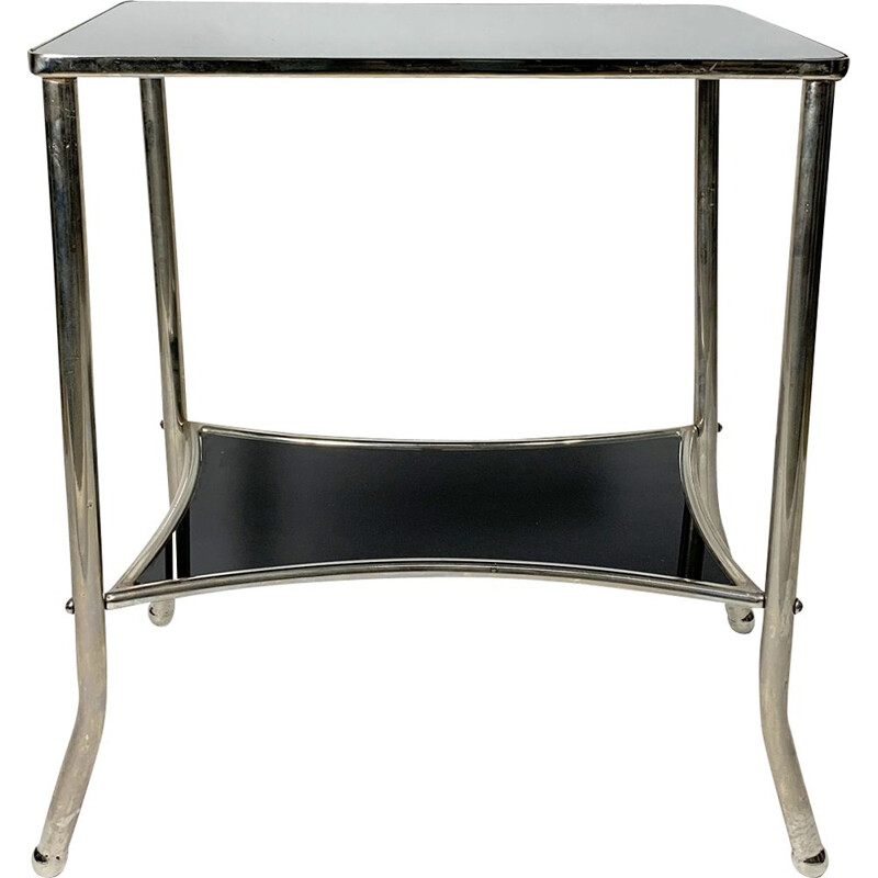 Vintage Nickel-Plated and Black Glass Console Table, 1930s