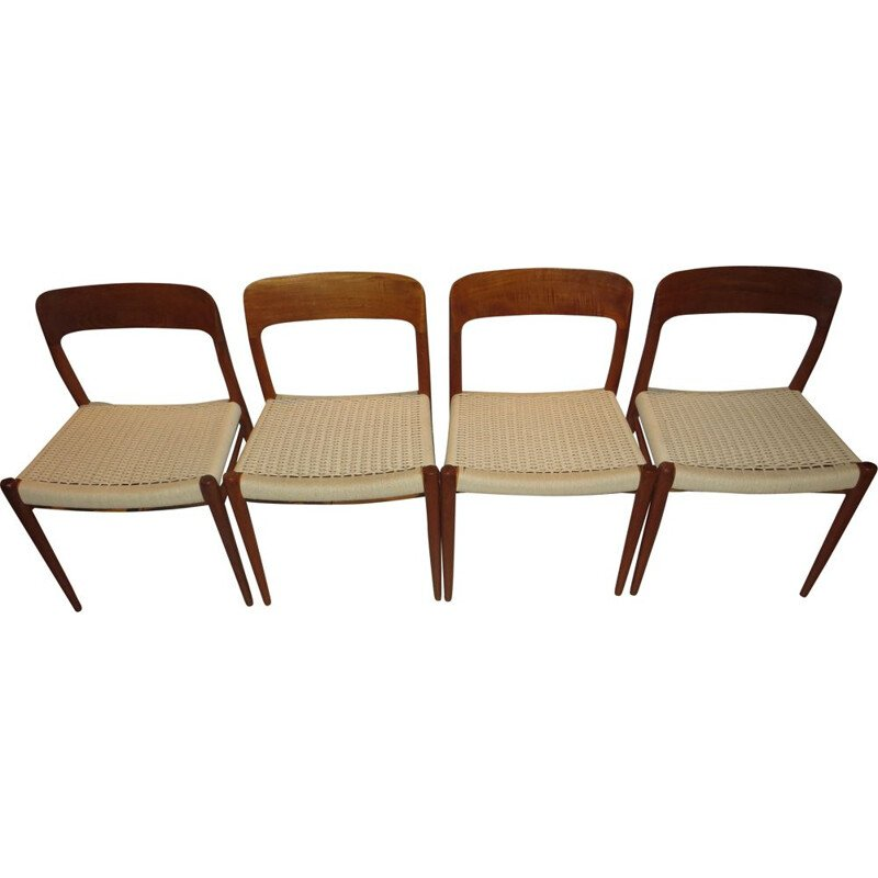 Set of 4 vintage Danish teak N 75 chairs by Moller
