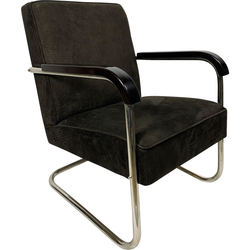 Vintage Leather and Tubular Steel Armchair, 1930s