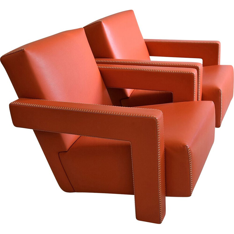 Pair of Leather Hermes Orange Utrecht Lounge Chairs by Gerrit Rietveld